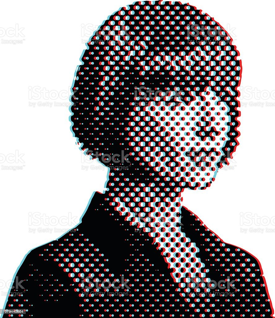 Retro Businesswoman Thinking and Planning with Moire Pattern vector art illustration