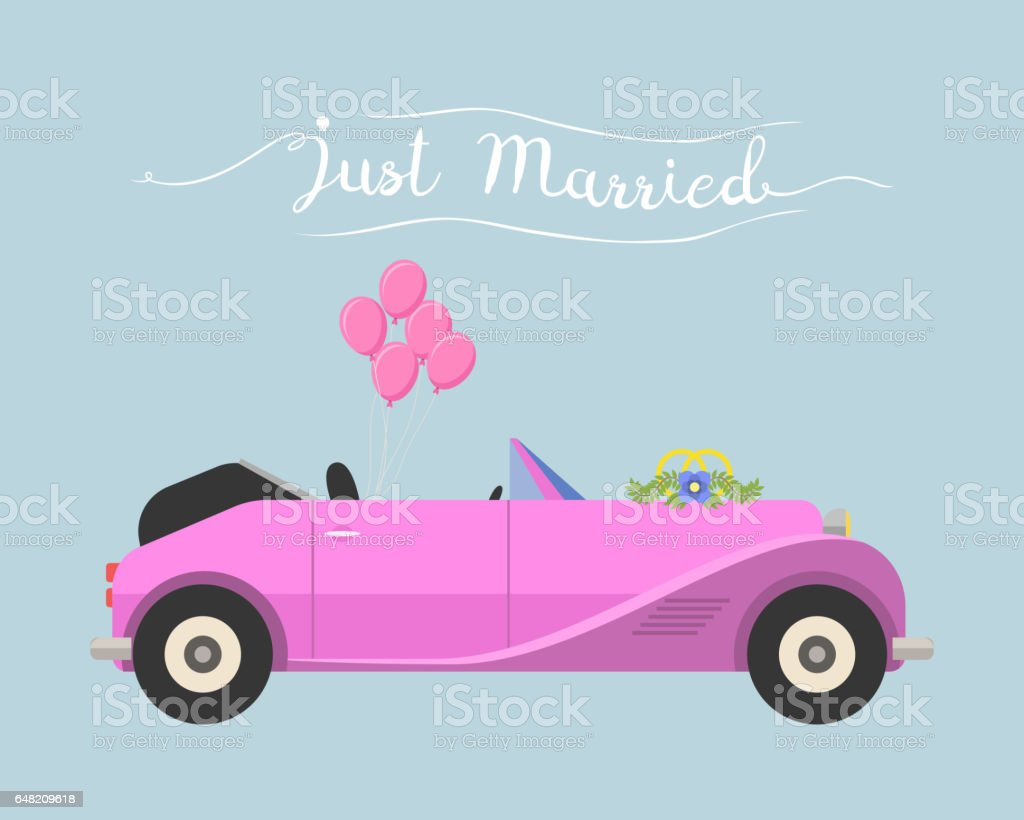 Retro cabrio car wedding just married vector vehicle vector art illustration