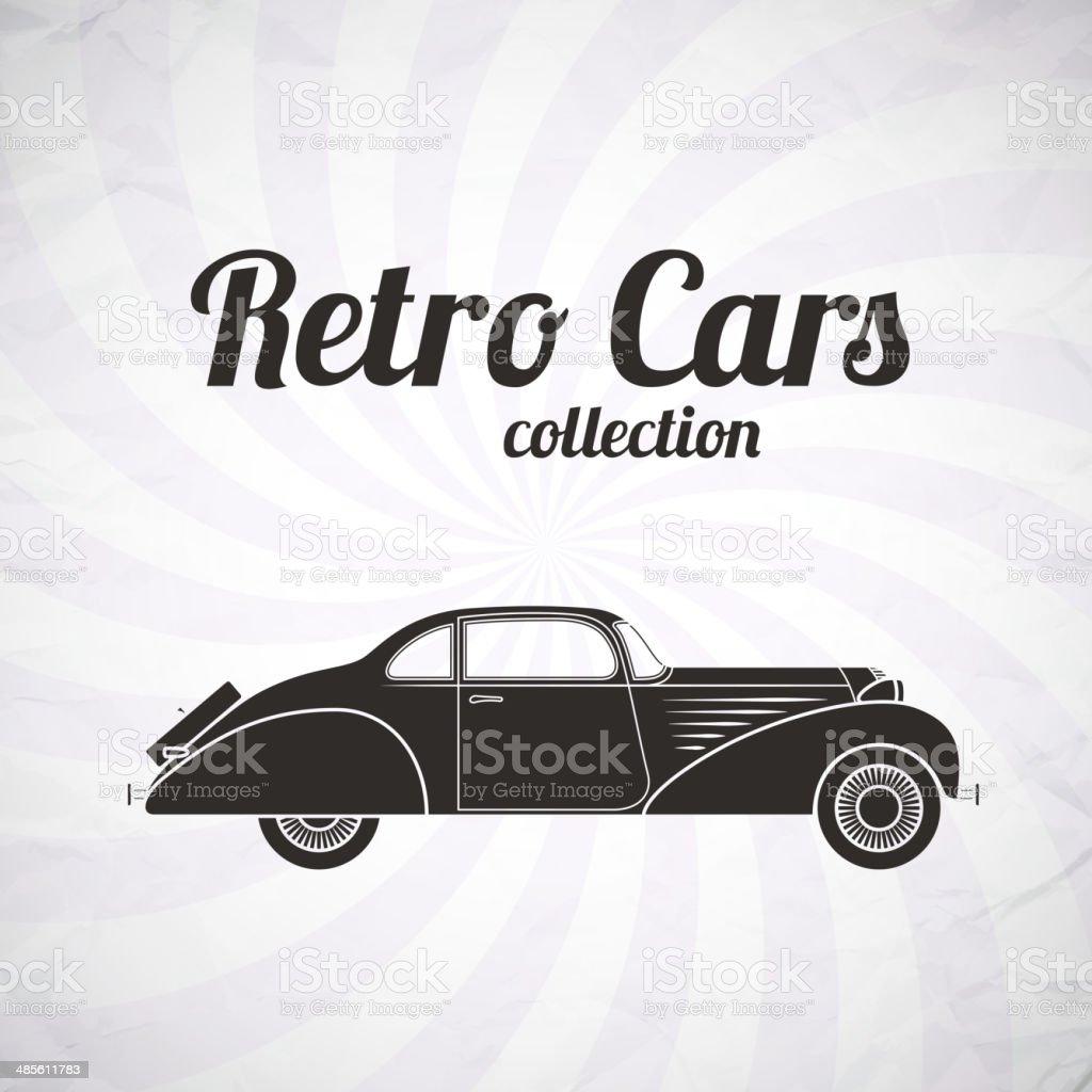 Retro cabriolet car, vintage collection royalty-free stock vector art