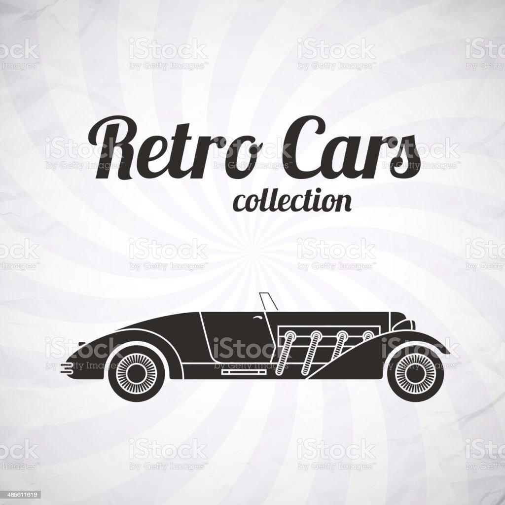 Retro cabriolet sport car, vintage collection royalty-free stock vector art
