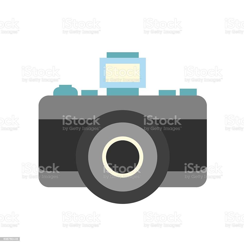 Retro camera flat icon vector art illustration