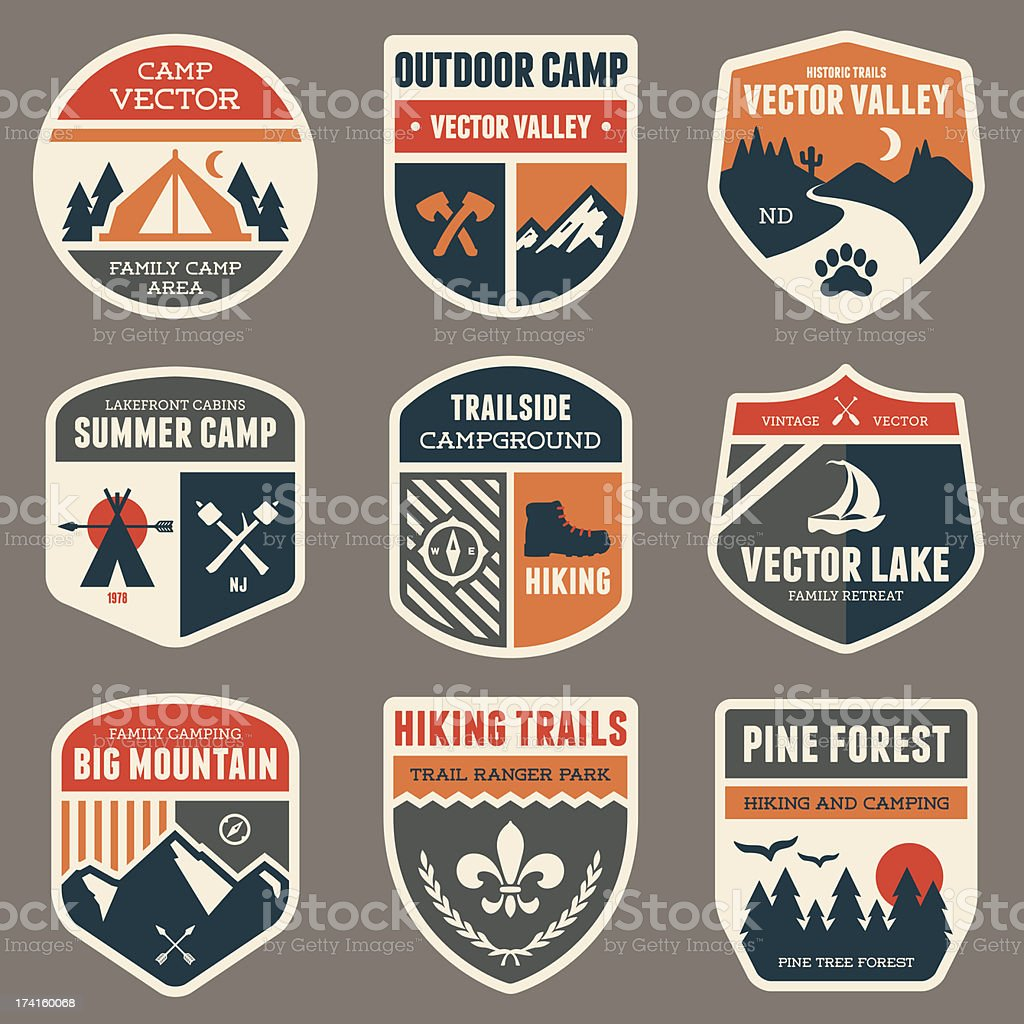 Retro camp badges vector art illustration