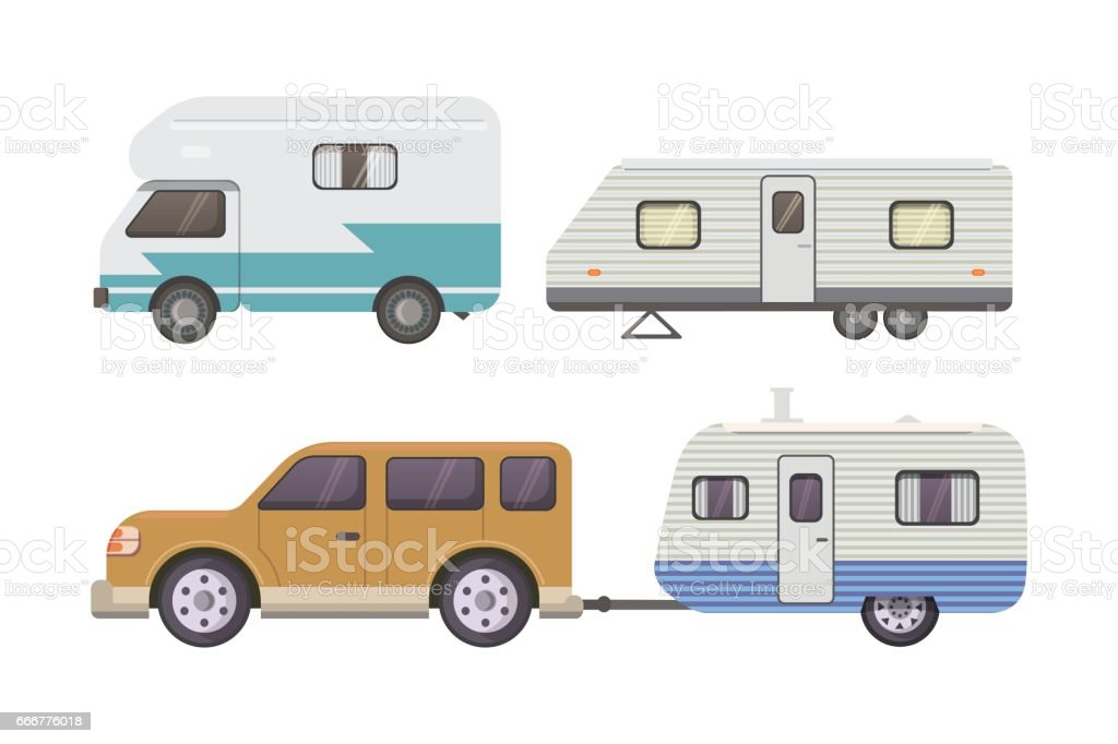 Retro camper trailer collection. car trailers caravan. tourism. vector art illustration