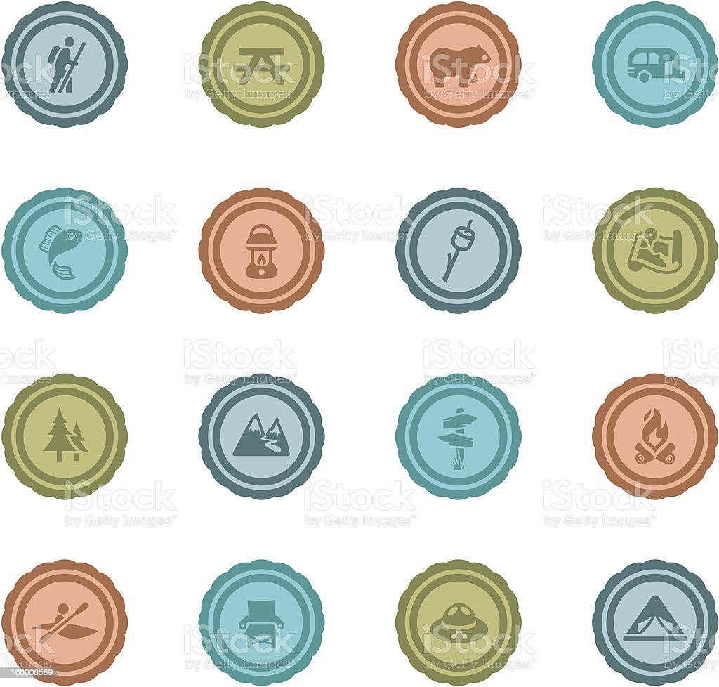 Retro Camping Badges vector art illustration