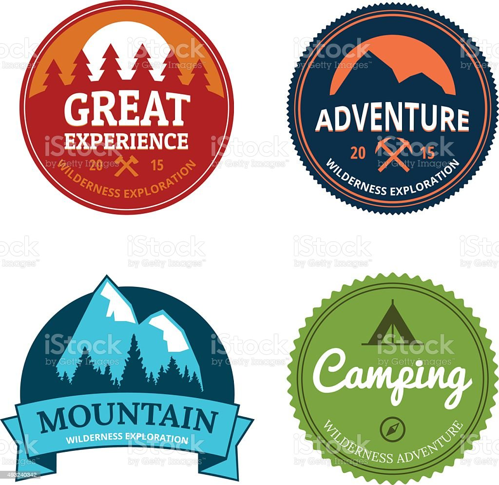 retro camping logos vector art illustration