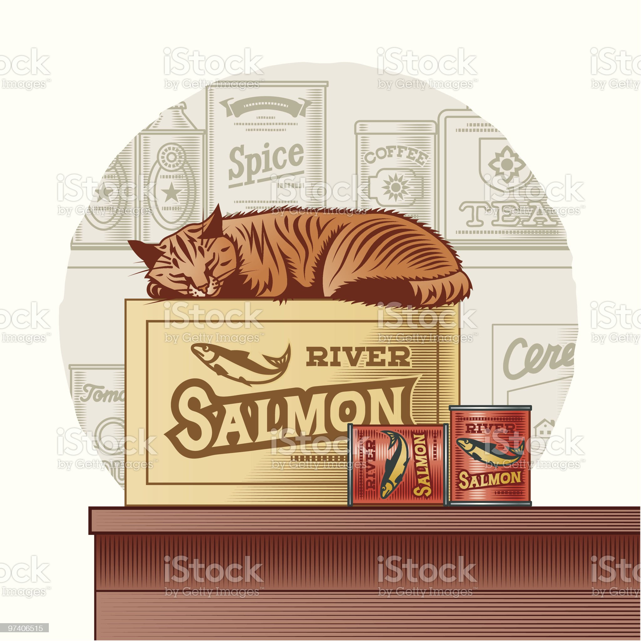 Retro canned fish and sleeping cat royalty-free stock vector art