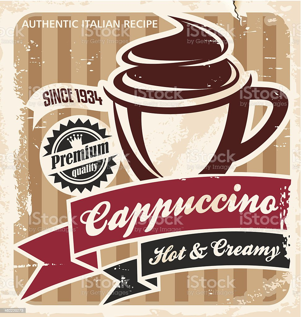Retro cappuccino poster on grungy paper background royalty-free stock vector art