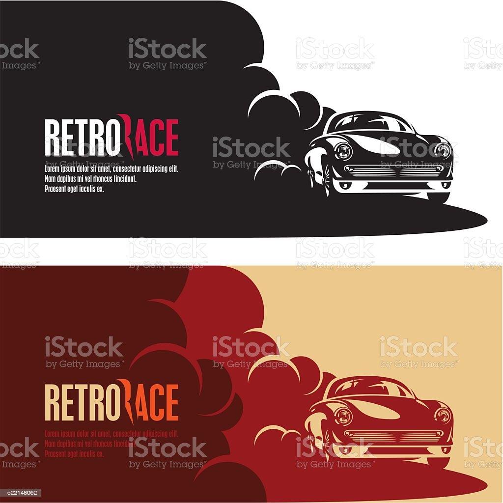retro car race banner vector art illustration