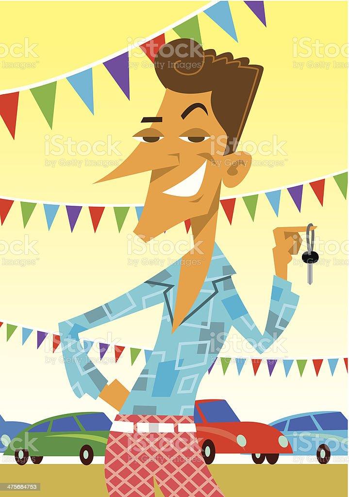 Retro Car Salesman C vector art illustration