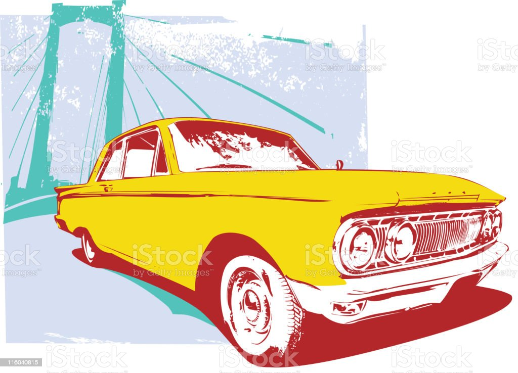retro car vector art illustration