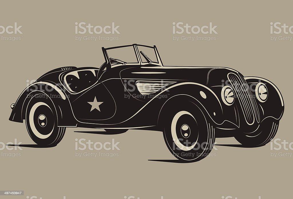 Retro car vector art illustration