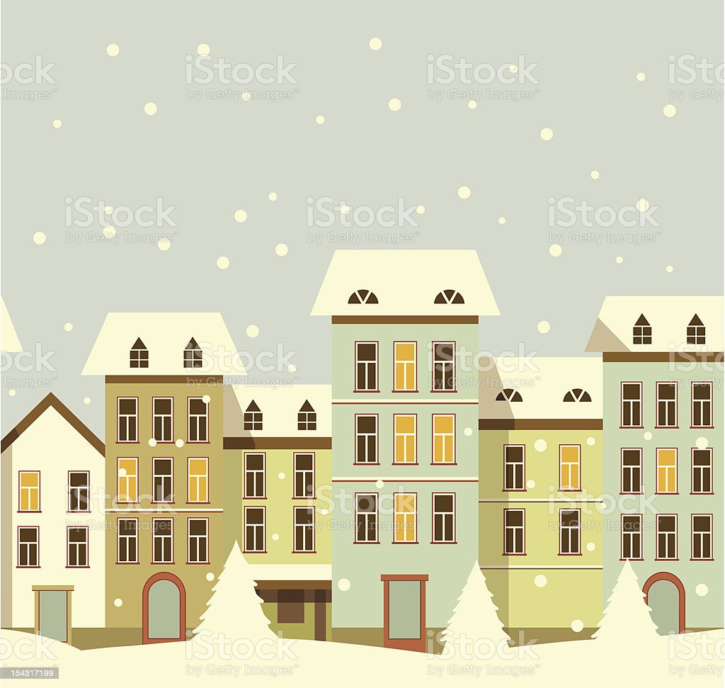 Christmas house with snow art - Winter Christmas Houses In Old City Royalty Free Stock Vector Art