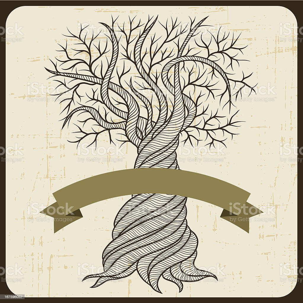 Retro card with abstract curling tree. vector art illustration