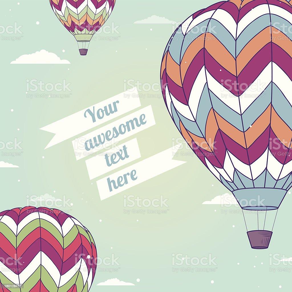 Retro card with hot air balloons royalty-free stock vector art