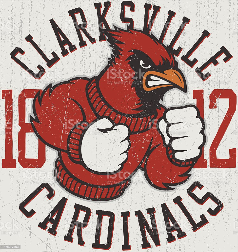 Retro Cardinals Mascot Design vector art illustration