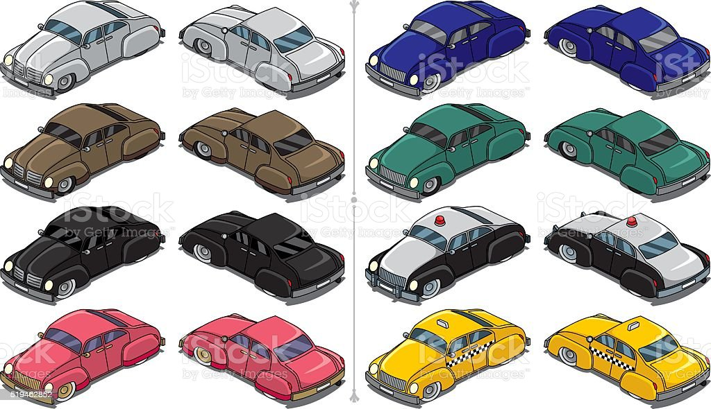 Retro Cars vector art illustration