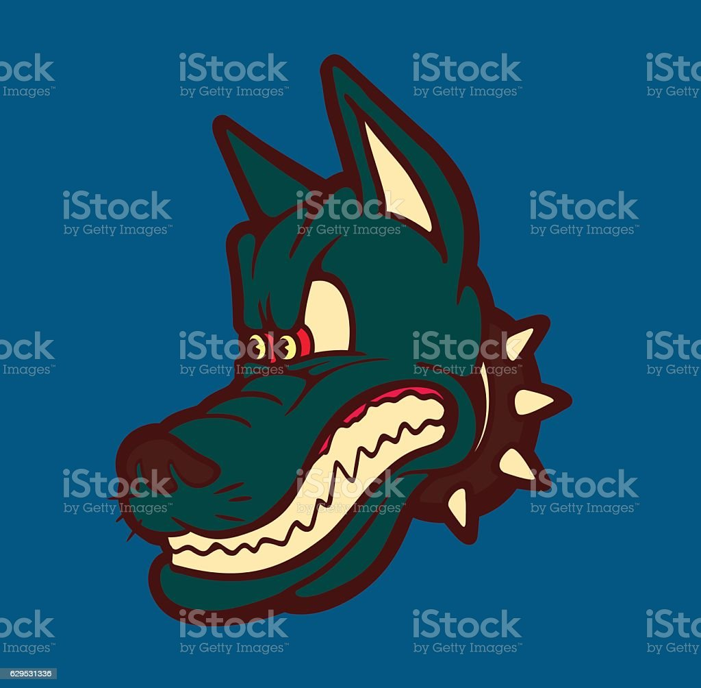 Retro cartoon angry dog snarling and grinding teeth vector vector art illustration