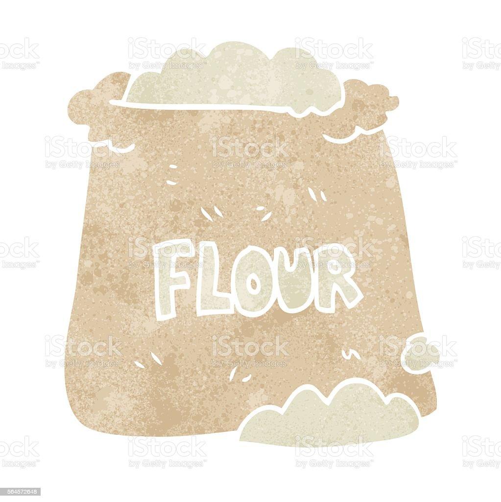 retro cartoon bag of flour vector art illustration