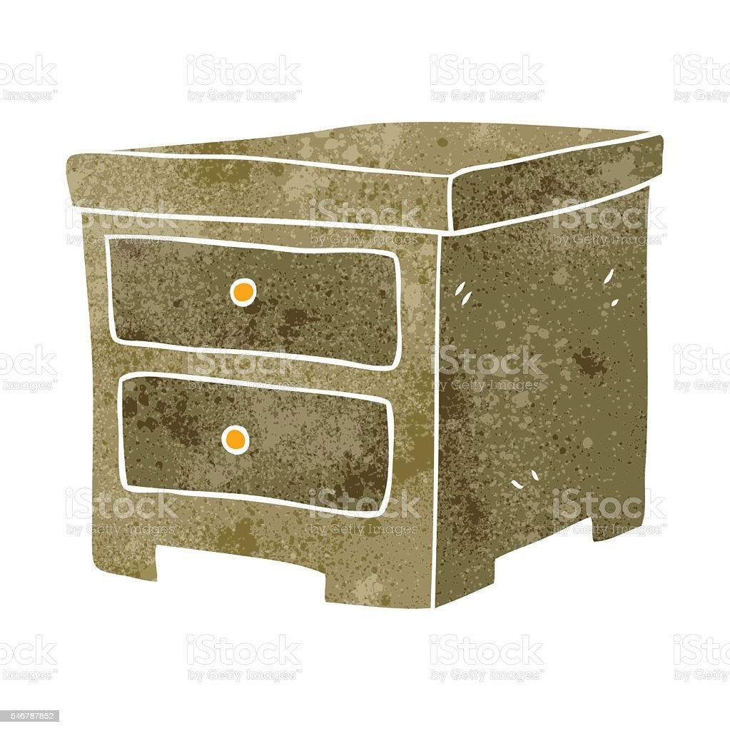 retro cartoon chest of drawers vector art illustration