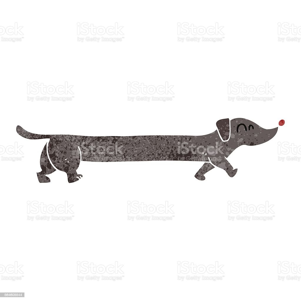 retro cartoon dachshund vector art illustration