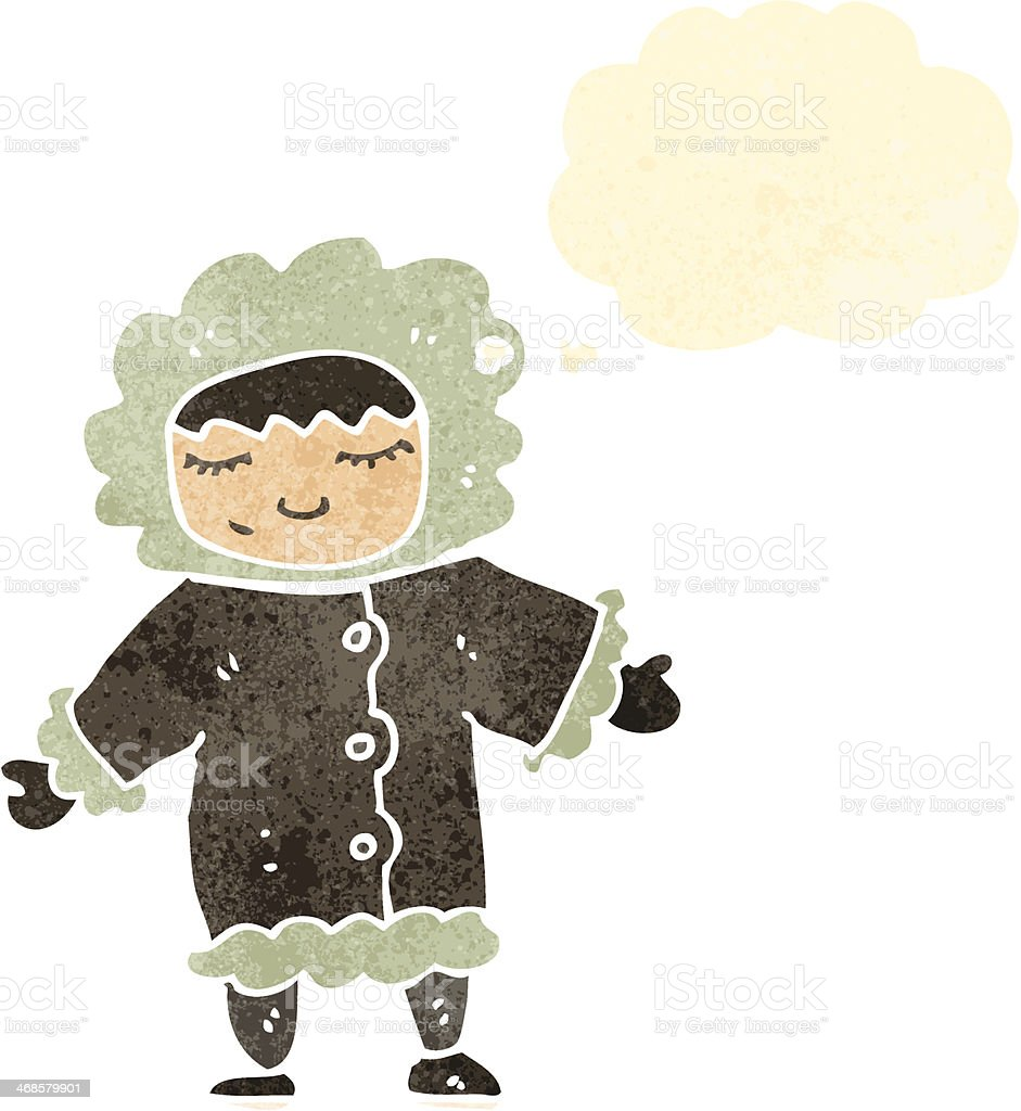 retro cartoon eskimo with thought bubble vector art illustration