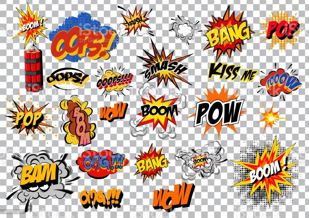 retro cartoon explosion pop art comic set. Vector vector art illustration