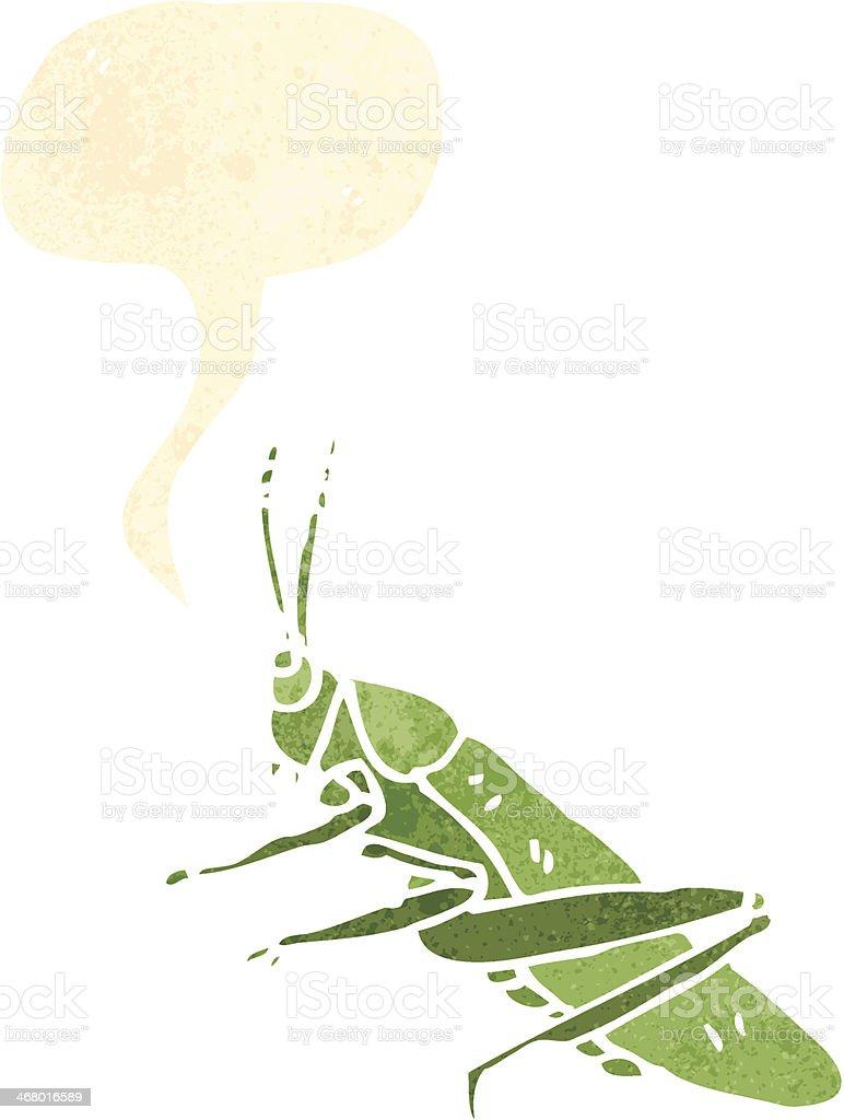 retro cartoon grasshopper with speech bubble royalty-free stock vector art