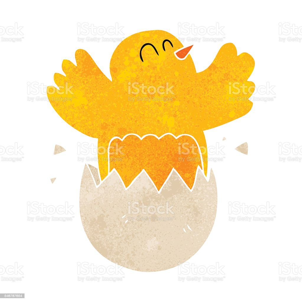 retro cartoon hatching egg vector art illustration