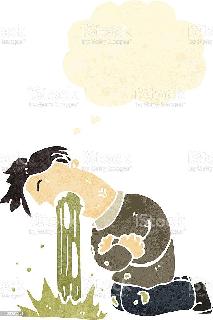 retro cartoon man being sick vector art illustration