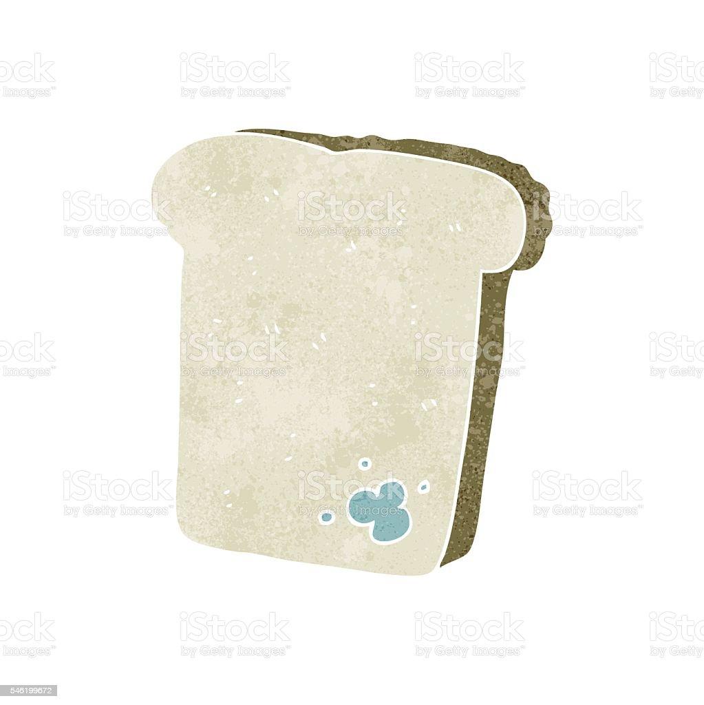 retro cartoon mouldy bread vector art illustration