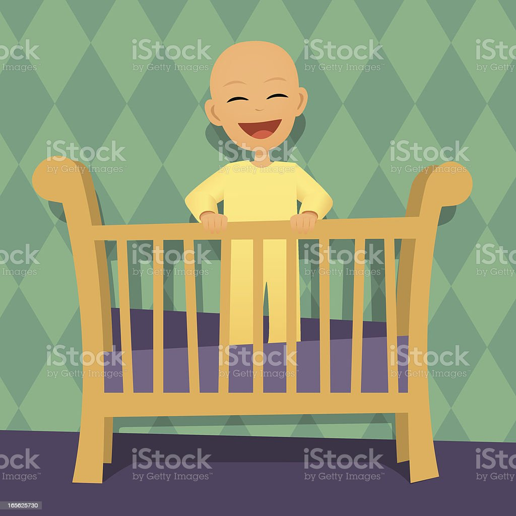 Retro cartoon of a baby in the crib royalty-free stock vector art