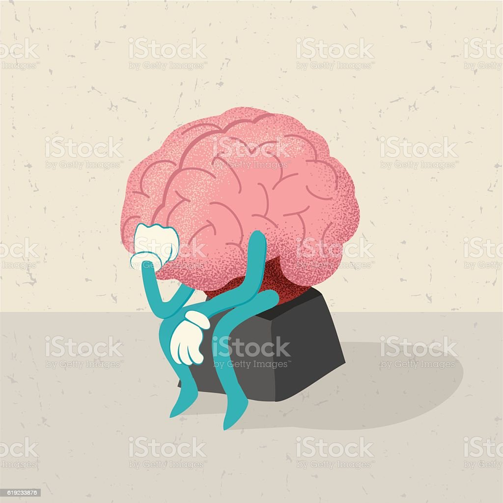 retro cartoon of a thinking brain character vector art illustration