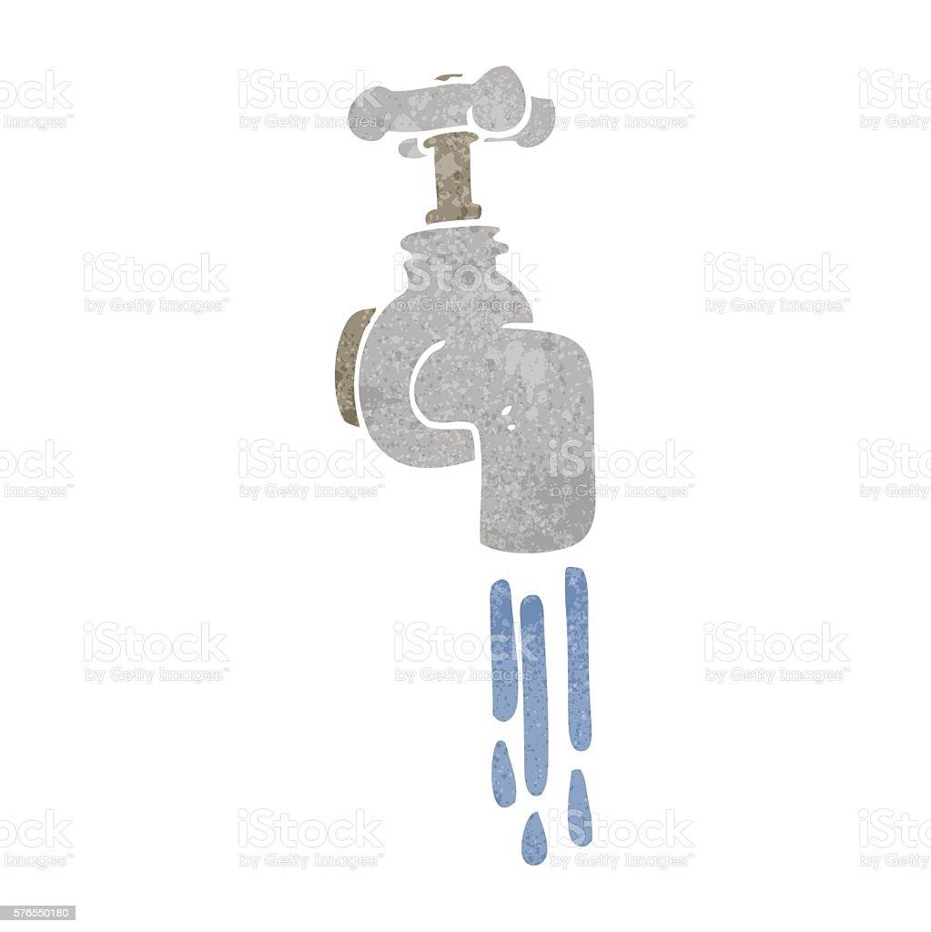 retro cartoon running faucet vector art illustration