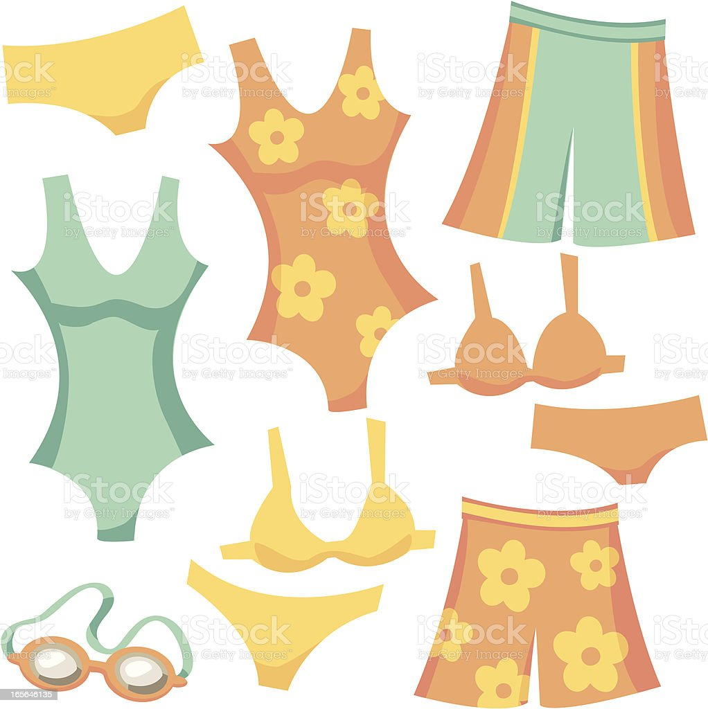 Retro Cartoon Swimwear: Shorts, Tank, Bikini, and Goggles vector art illustration
