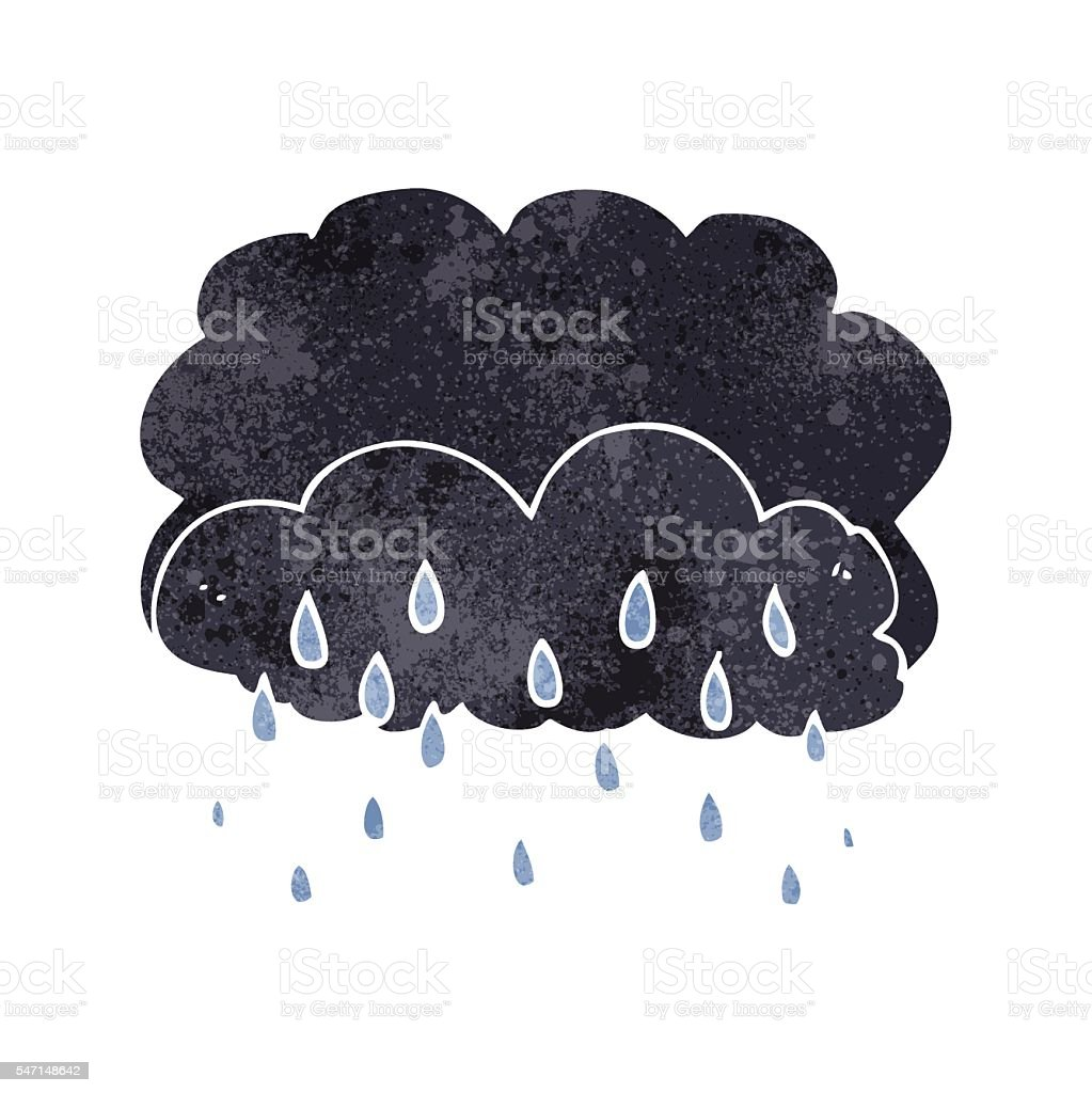 retro cartoon thundercloud vector art illustration