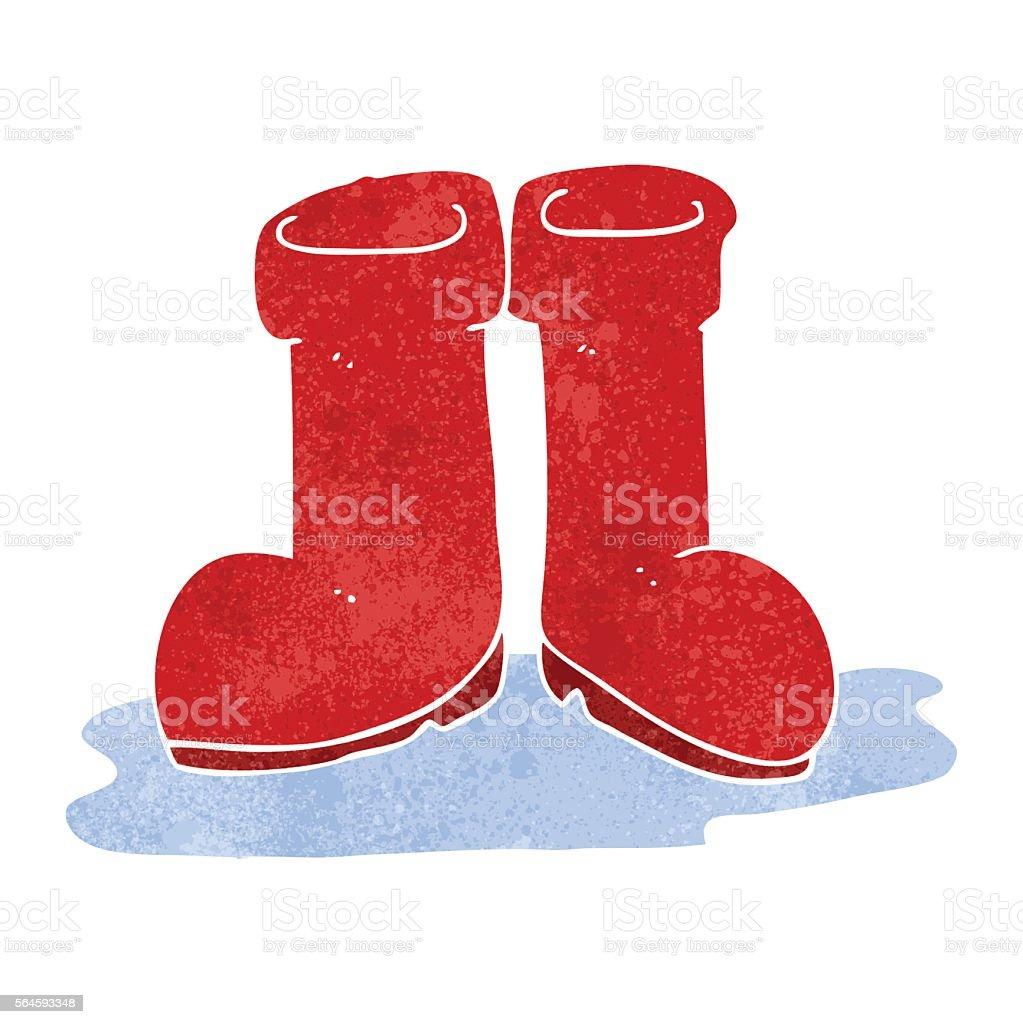 retro cartoon wellington boots in puddle vector art illustration