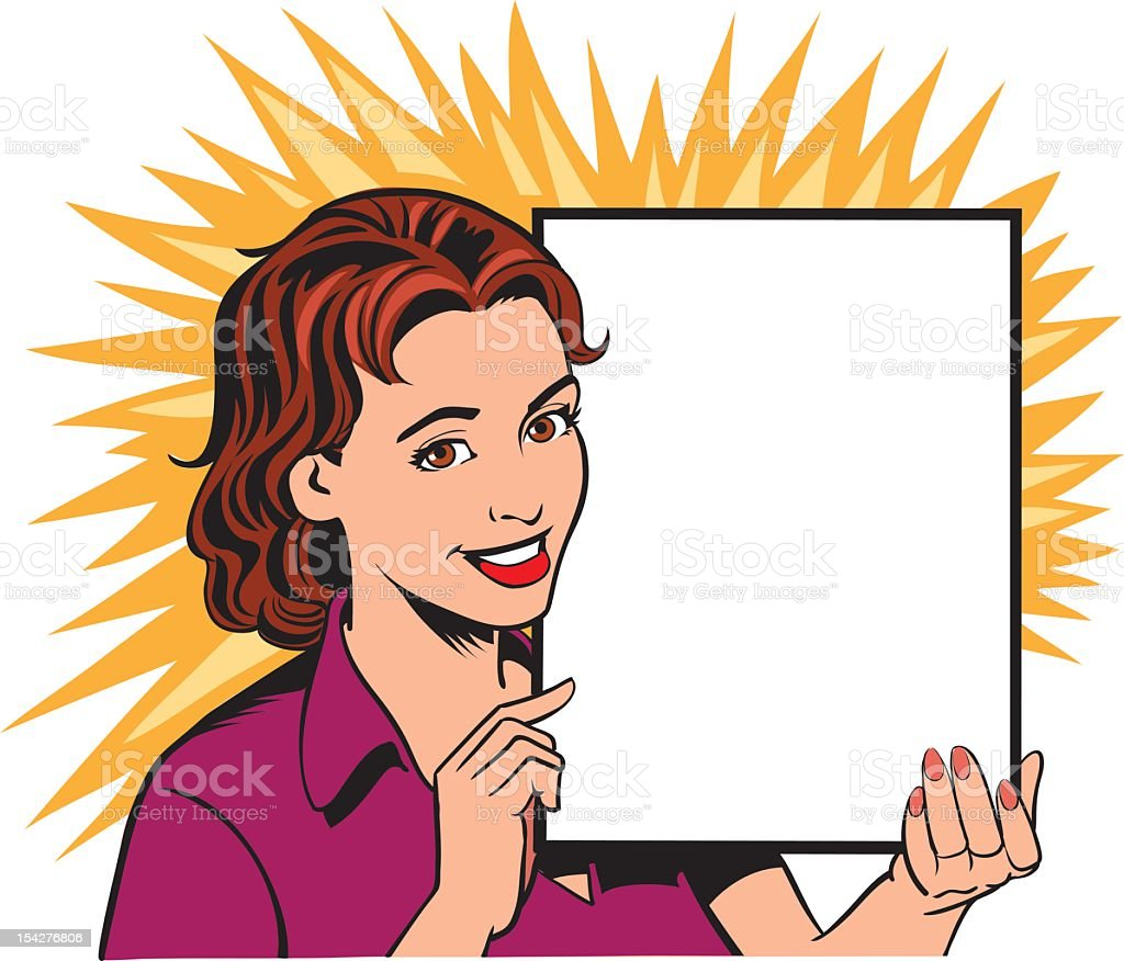 Retro cartoon woman holding a blank sign royalty-free stock vector art