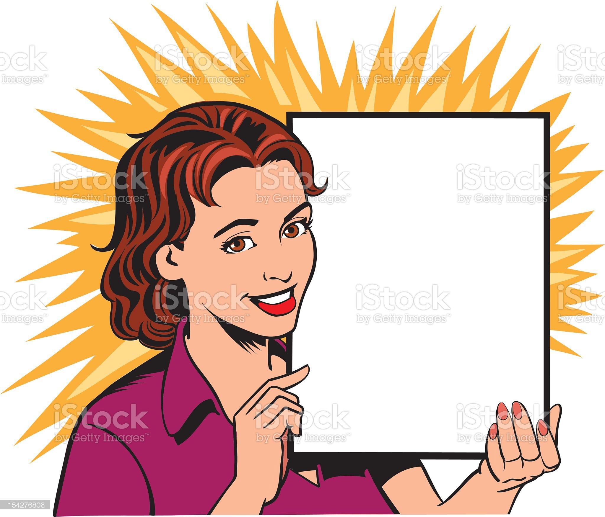 Retro cartoon woman holding a blank sign royalty-free stock vector art