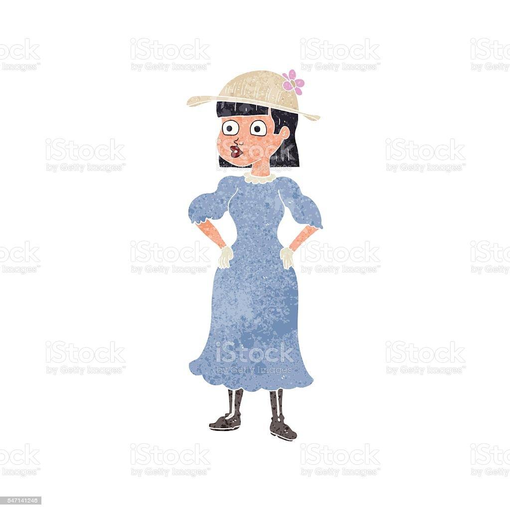 retro cartoon woman in sensible dress vector art illustration