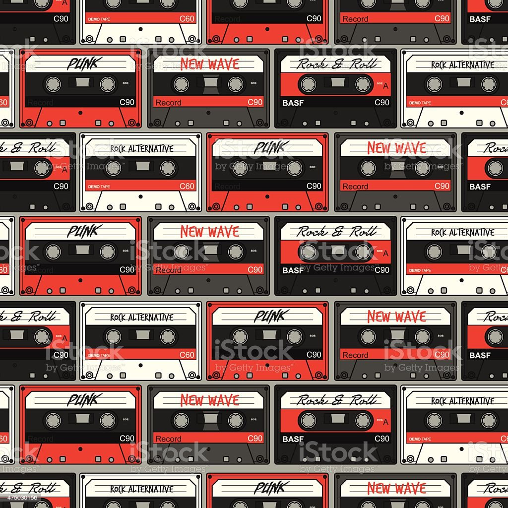 Retro Cassette seamless pattern vector art illustration