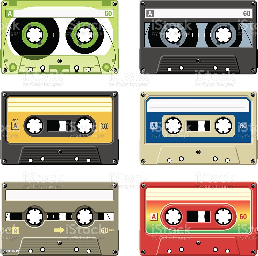 Retro cassette tapes with a variety of colors and labels vector art illustration