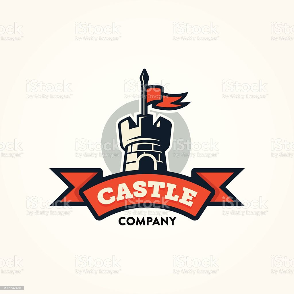 Retro castle illustration with red banner and text space vector art illustration