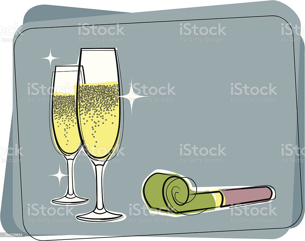 Retro champagne and noisemaker vector art illustration