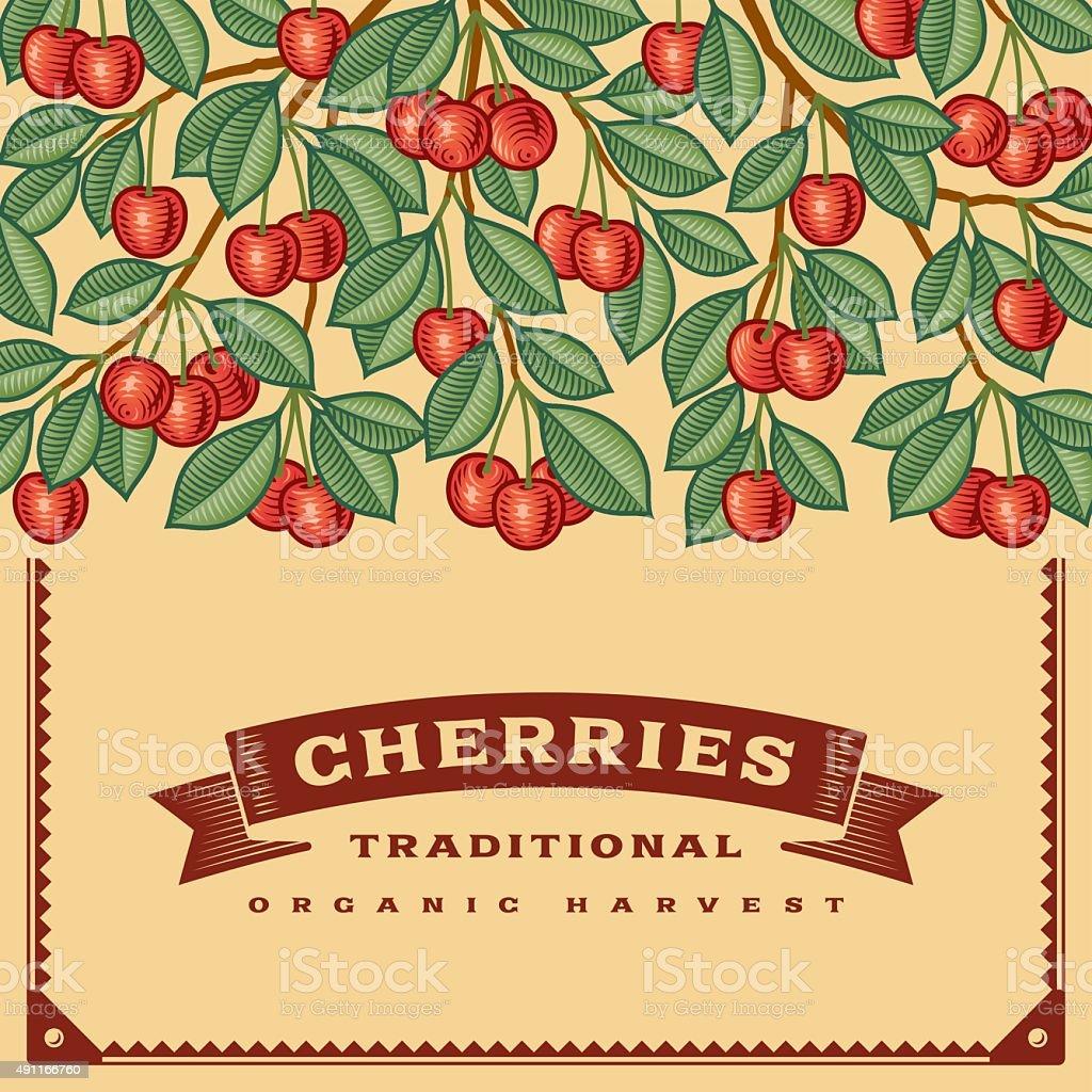 Retro cherry harvest card vector art illustration