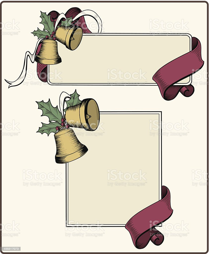 retro Christmas Bell Banners vector art illustration
