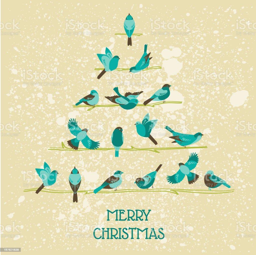 Retro Christmas Card - Birds on tree royalty-free stock vector art