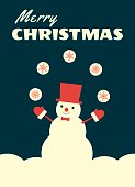 retro christmas card snowman juggling
