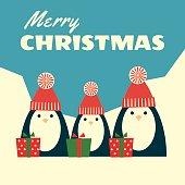 retro christmas card three penguins square