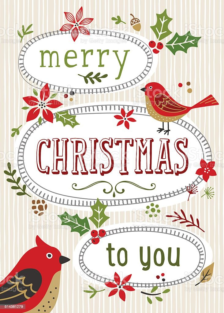 Retro Christmas Card vector art illustration