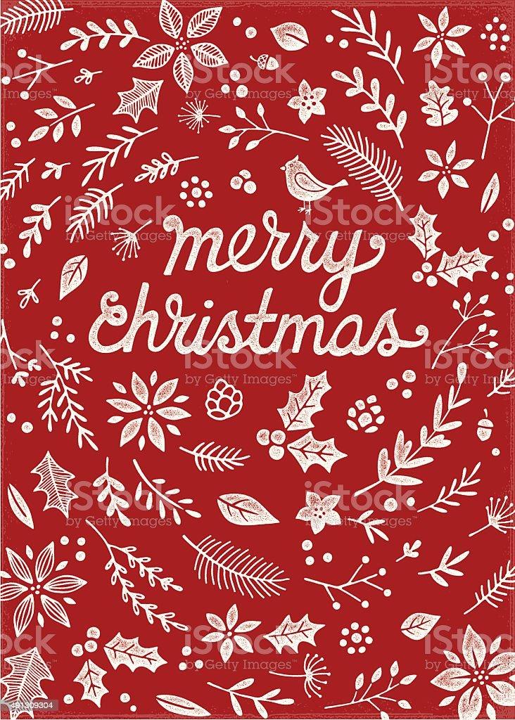 Retro Christmas Card with Letterpress Effect vector art illustration